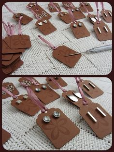 What a creative way to display earrings (get a custom made stamp w/ your Boutique name & info. & stamp it on the back).