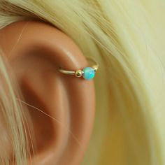 Silver gold cartilage earring tiny opal hoop by junelittleshop