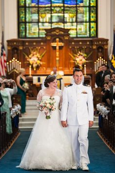 Bride and Groom at Annapolis Wedding Recessional