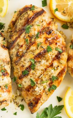 Grilled Greek Lemon Chicken – this is one of my favorite ways to make chicken! So flavorful and delicious! FULL RECIPE HERE Lemon Chicken . Frango Chicken, Greek Lemon Chicken, Grilled Lemon Pepper Chicken, Greek Chicken Breast, Lemon Garlic Chicken, Thyme Recipes, Cooking Recipes, Healthy Recipes, Healthy Grilled Chicken Recipes