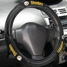 Pittsburgh Steelers Black Vinyl Massage Grip Steering Wheel Cover by Fremont Die. $29.95. Pittsburgh Steelers Black Vinyl Massage Grip Steering Wheel CoverOfficially licensed NFL productTeam logo and colorsHeavy gauge vinylEasily stretches to fit most steering wheelsSlips on in seconds - no lacing requiredImportedHeavy gauge vinylEasily stretches to fit most steering wheelsSlips on in seconds - no lacing requiredTeam logo and colorsImportedOfficially licensed NFL product