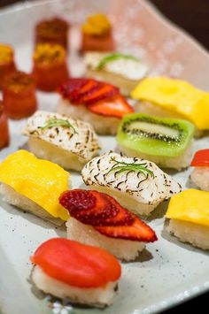 I want to have this sushi party now and add fruit sushi