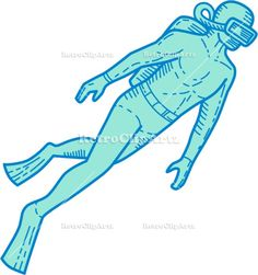 Scuba Diver Diving Mono Line Vector Stock Illustration. Mono line style illustration of a scuba diver diving swimming viewed from the side set on isolated white background. #illustration #ScubaDiverDiving