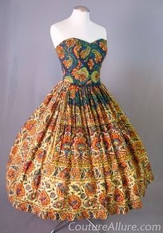 1950s McKettrick Cotton Batik Full Skirt Dress with Matching Stole