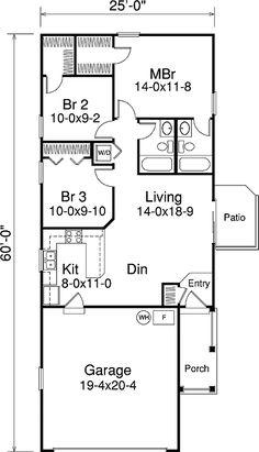 28 x 50 floor plan 3 bedroom 28 x 48 floorplan 1 floor for Small two car garage