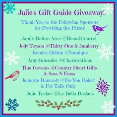 Welcome to Julie's Holiday Gift Guide Giveaway! Thank you to all of our great sponsors for providing $235 worth of prizes this year!