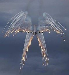 """*""""Angel Flight"""" is the call sign for a USAF aircraft carrying a fallen hero on board. Their """"Salute"""" with flares looks like an angel with wings. Michel Ciry, Fighter Aircraft, Fighter Jets, Fighter Pilot, Carros Bmw, Angel Flight, Flight Wings, Cool Photos, Beautiful Pictures"""