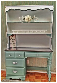"""Mermaid net"" chalkpaint.. Color from Behr.  Distressed perfectly!"