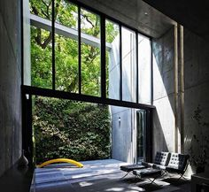 Love this! The backdrop of green offsets the monolithic feel of the concrete... Project by: Tadao Ando #homedesign #lifestyle #style #designporn #interiors #decorating #interiordesign #interiordecor #architecture #landscapedesign
