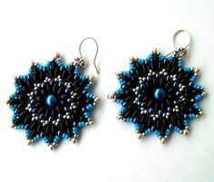 Free pattern for beaded earrings Bonny    U need:  seed beads 11/0  seed beads 8/0  drops seed beads  twin or super duo seed bea