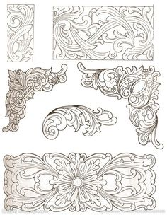 Free Leather Tooling Patterns – Catalog of Patterns Leather Carving, Leather Tooling Patterns, Leather Pattern, Wood Carving Patterns, Carving Designs, Motif Arabesque, Dremel Projects, Metal Embossing, Chinese Patterns