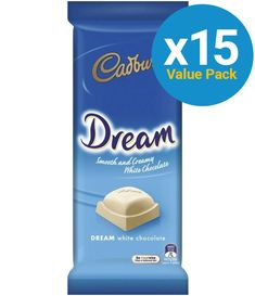 Cadbury: Dream 180g (15 Pack) Melting Chocolate, White Chocolate, Cadbury Dairy Milk Chocolate, Chocolate Dreams, Packing Light, Creamy White, Cocoa Butter, Peppermint