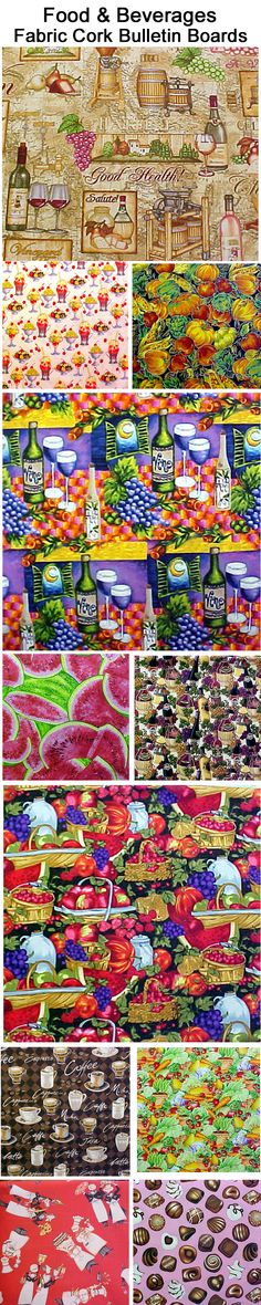 FABRIC CORK BULLETIN BOARDS. Just an example of some fabrics available in FOOD & BEVERAGES at  awww.PushPinsAndFabricCorkBoards.com  to make a custom, unique BULLETIN BOARD to match your decor, as a gift to someone who loves the flowers. Boards are available four standard sizes, with or without message ribbons and Top it off with matching or DECORATIVE PUSH PINS in the Decorative Push Pins department. #fabriccorkbulletinboards #fabriccorkbulletinboards #FOOD  #DRINKS