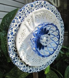 glass garden flower garden glass ceramic plate by Adelicatetouch1, $35.00