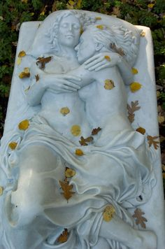 Monument to a Marriage -Woodlawn Cemetery in the Bronx NY marble art sculpture gravestone created by lesbian sculptor Patricia Cronin Cemetery Angels, Cemetery Statues, Cemetery Headstones, Old Cemeteries, Cemetery Art, Graveyards, Cemetery Monuments, Woodlawn Cemetery, Artwork