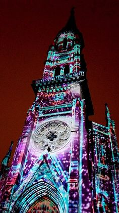 Saint-Jacques Cathedral (Cathédrale Saint-Jacques), MONTREAL, all lit up http://en.wikipedia.org/wiki/Saint-Jacques_Cathedral_(Montreal)