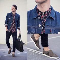 Shop this look on Lookastic: https://lookastic.com/men/looks/denim-jacket-dress-shirt-skinny-jeans-slip-on-sneakers-tote-bag-watch/11914 — Navy Floral Dress Shirt — Blue Denim Jacket — Black Watch — Navy Skinny Jeans — Charcoal Canvas Tote Bag — Charcoal Slip-on Sneakers