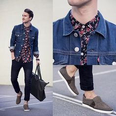 Shop this look on Lookastic: https://lookastic.com/men/looks/denim-jacket-dress-shirt-skinny-jeans-slip-on-sneakers-tote-bag-watch/11914 — Navy Floral Dress Shirt — Blue Denim Jacket — Black Watch — Navy Skinny Jeans — Charcoal Canvas Tote Bag — Charcoal Slip-on Sneakers