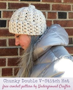 Free #crochet pattern: Chunky Double V-Stitch Hat. This chunky, feminine hat works up quickly from headband to crown.