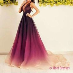 Charming Prom Dress,Sexy Burgundy Prom Dress Evening Ombre Party Dress PD20181930