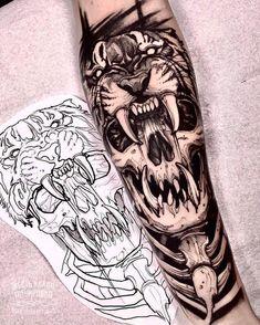 Tattoo sleeve skull art designs 30 ideas for 2019 – skull tattoo sleeve Wolf Tattoos, Skull Tattoos, Forearm Tattoos, Body Art Tattoos, Hand Tattoos, Ink Tatoo, Tattoo Henna, Tiger Tattoo, Jaguar Tattoo