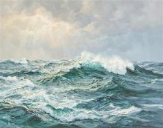 Artworks of Charles Vickery (American, 1913 - Ocean Art, Ocean Waves, Seascape Paintings, Landscape Paintings, Stürmische See, Etretat France, Monet Paintings, Photo Art, Cool Art
