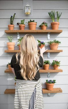 DIY Plant shelving wall // succulents plant wall / outdoor plant shelves // jess oakes // positively oakes
