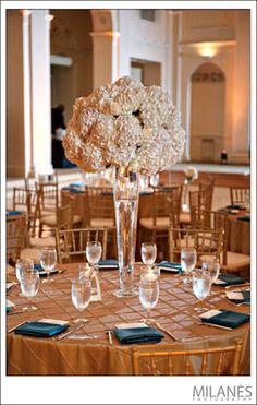 Rent pintuck tablecloths for wedding reception