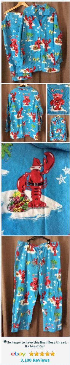 Nick & Nora XXL Flannel Pajama Set Lobster Santa Claws 2 Piece #ebay @duchesshazard http://www.ebay.com/itm/Nick-Nora-XXL-Flannel-Pajama-Set-Lobster-Santa-Claws-2-Piece-2X-Palm-Tree-/311803360644