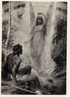 From a 1891 book the Legends of Yosemite about the young Indian man falling in love with the Pohono Spirit or Lady of the Blowing Misty Waters once he gazed upon her beauty.
