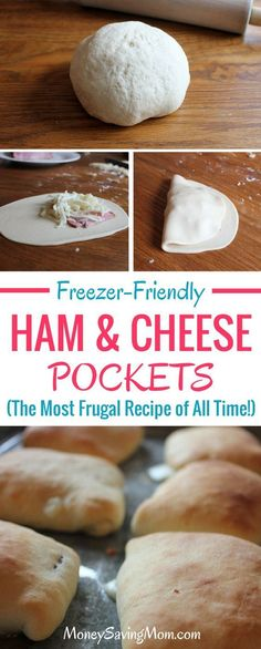 Freezer-Friendly Ham & Cheese Pockets - Best of Money Saving Mom®These are SO delicious and the recipe is SO simple! These are great to make ahead of time and stick in the freezer for quick lunches. Budget Freezer Meals, Make Ahead Freezer Meals, Freezer Cooking, Frugal Meals, Easy Meals, Inexpensive Meals, Lunch Snacks, Lunches, Ham Recipes