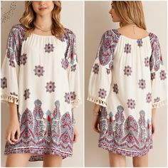 Paisley print shift dress Fully lined paisle print shift dress with fringed bell sleeves Please do not purchase this listing. Comment with size and I will create a new listing for you. Small (2/4) Medium (6/8) Large (10/12). Price is firm unless bundled. 100% rayon Dresses