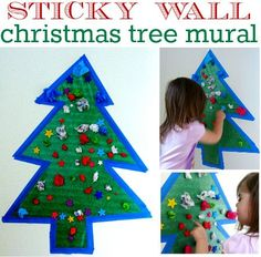 Christmas Tree activity for toddlers and kids. { Great fine motor and fun decor for a playroom}