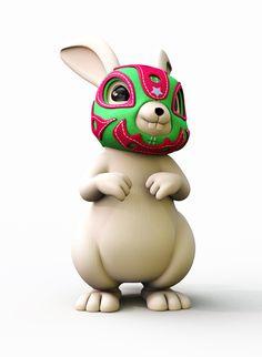 Lucha Rabbit - by Teodoru Badiu  I find this both disturbing and amusing!