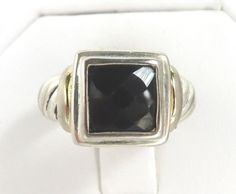 Vintage Black Spinel Sterling Silver Ring Size 5.5 by LeesStuff