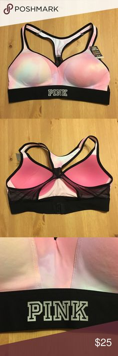 Victoria's Secret PINK Sports Bra Color is a pastel pink and purple mix of colors. Sports bra has some push up. Size M. New with tags. PINK Victoria's Secret Intimates & Sleepwear Bras