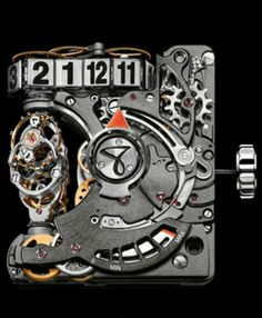 Hautlence HL2.5 – a new sporty edition of a crazy machine, Movement (Front) - HAUTLENCE HL2.0 in-house calibre including gear train and automatic winding system.  Half-trailing hours displayed by a chain, retrograde minute, mobile bridge-type calibre.   DISPLAY  Hours, retrograde minutes and power-reserve indicator.   CALIBRE  Calibre description :     2 barrels : one finishing barrel (power reserve for the entire watch calibre including power for the second barrel) and a complication…