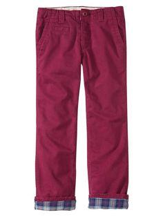 Gap Kids plaid lined twill pants.