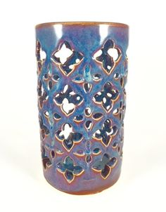 Moroccan Lantern by Quigley Ceramics. Ceramic hand carved candle holder. Pottery