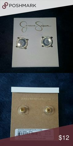 Jessica Simpson Stud Earrings Jessica Simpson Pretty Diamond Rose Gold Stud Earrings  Worn but kept clean no signs of damages Jessica Simpson Jewelry Earrings