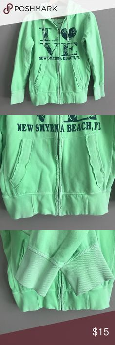 L💚VE Green Zip-Up Hoodie - New Smyrna Beach, FL Cute and comfortable, and in excellent condition! Fits well as a medium/large. Tops