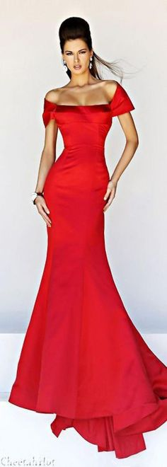SHERRI HILL - Off-Shoulder red (Long Top Outfit)