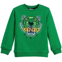 8574223a Bright green sweatshirt made from soft cotton to keep him warm. The iconic Kenzo  tiger