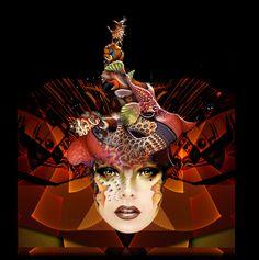 "Red Fish Fantasy Masque - 16"" x 16"" digital painting by  © E.Trostli"