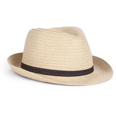 A classic woven straw fedora with a touch of color detail. Material: Paper, Polyester. Measurements: 57 cm circumference. Care Instructions: Spot clean.