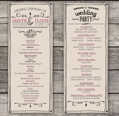 Rustic wedding programs created by HKA Designs