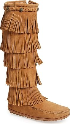 0e11a56175c2a Minnetonka Women's Shoes in Black Color. Tiered fringe cascades down the  shaft of a comfortable