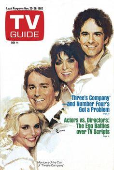 TV Guide November 20, 1982 - Priscilla Barnes, John Ritter, Joyce DeWitt and Richard Kline of Three's Company. Illustration by ?