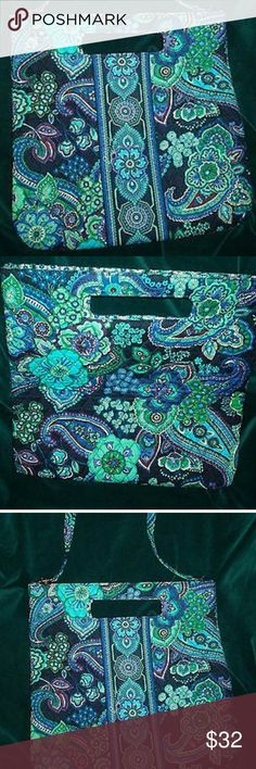 """Vera Bradley holiday tote """"Blue Rhapsody"""" NWT,  PERFECT  New with tag   Measures approx 14""""W x 14""""T and lays flat. The strap drop is approx 14"""" as well.  Beautiful blue and greens. Smoke free home Vera Bradley Bags Totes"""