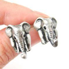 elephant-realistic-animal-stud-earrings-in-silver-animal-jewelry